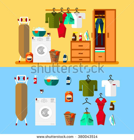 Laundry Room Flat Style Wash Machine Stock Vector 377594101.