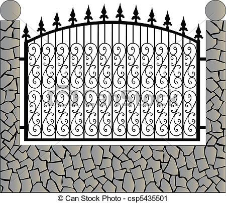 Vector Clip Art of Iron fence with stone csp5435501.