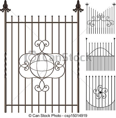 Vector Clip Art of Wrought iron fence set with decoration elements.