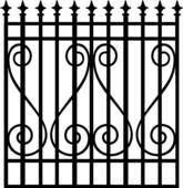 Clip Art of , border, cornice, gate, iron, ironwork, swirls.