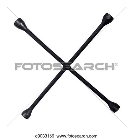 Stock Images of A four way wrench, or tire iron, silhouetted on a.