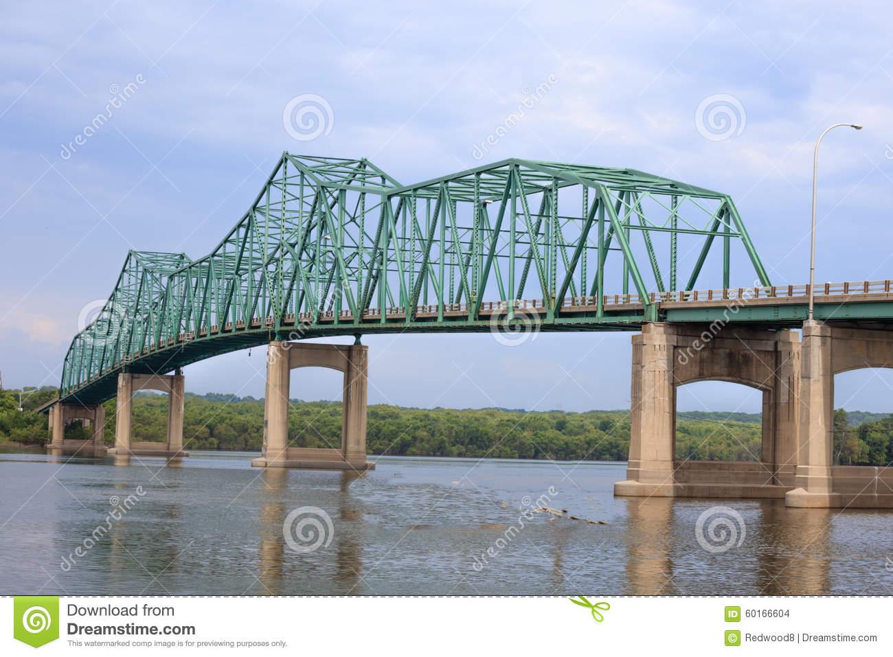 Steel Truss Bridge Stock Photo.