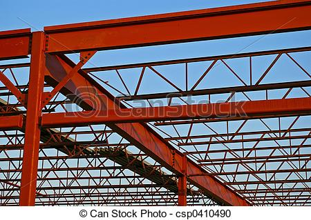 Stock Photography of Steel Roof Trusses.