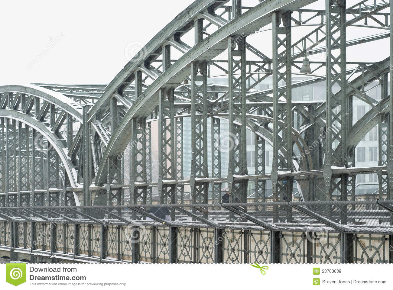 Steel Girders On A Metal Truss Bridge Stock Images.