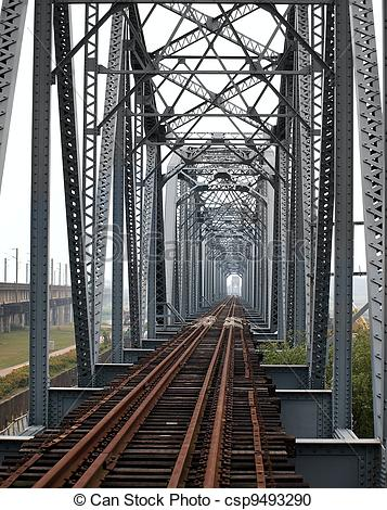 Stock Photography of Historic Iron Railway Bridge.