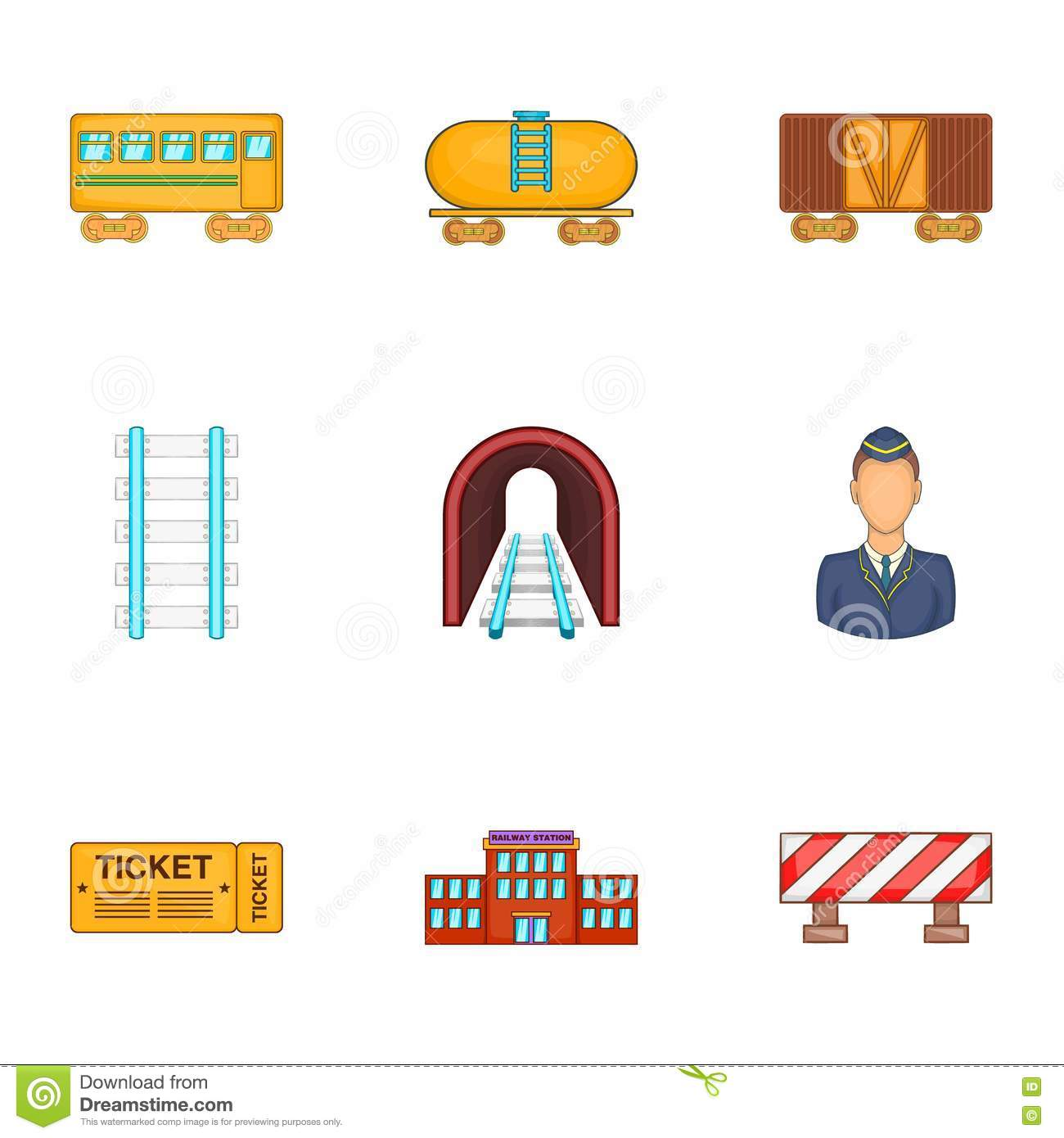 Iron Way Road Icons Set, Cartoon Style Stock Vector.