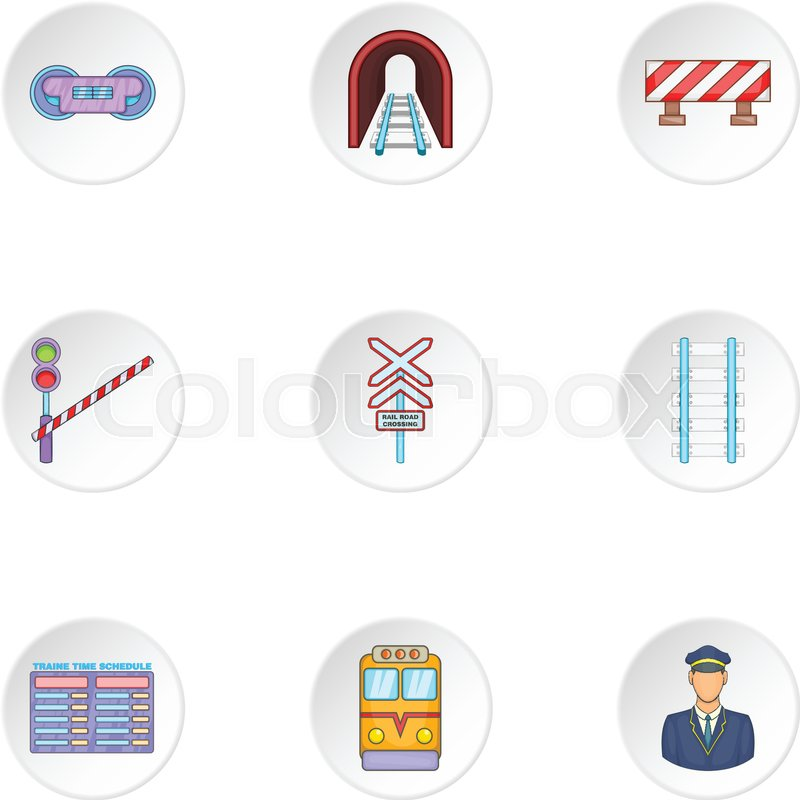 Iron way road icons set. Cartoon illustration of 9 iron way road.