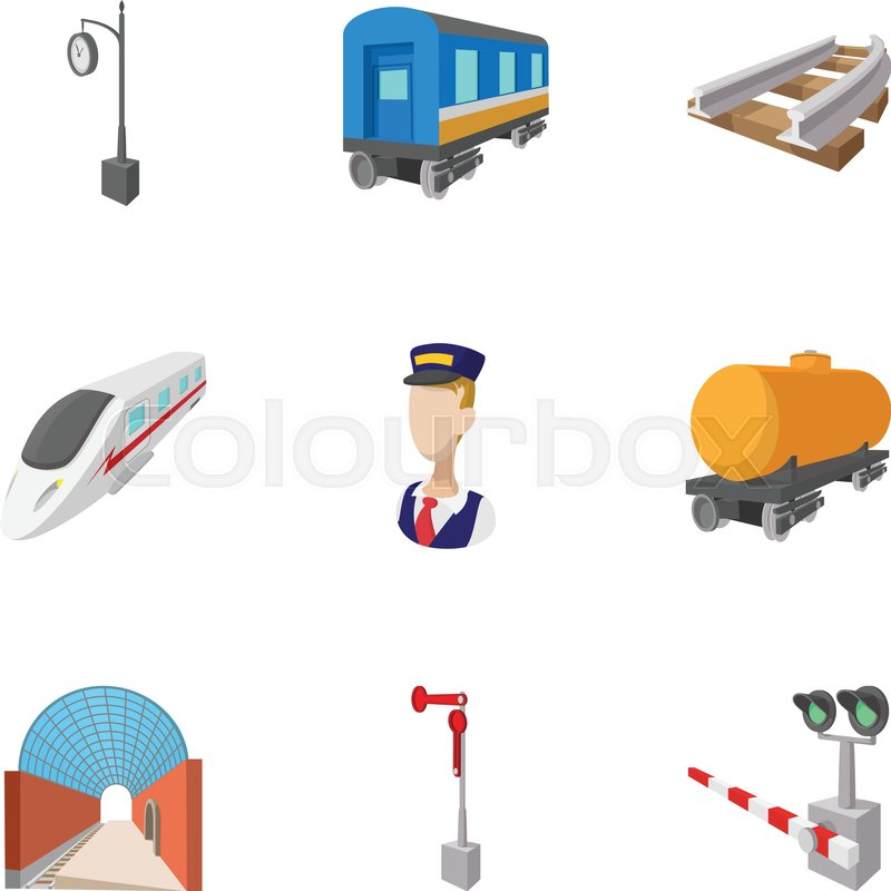 Iron way road icons set. Cartoon illustration of 9 iron way road.