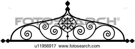 Clip Art of , border, cornice, gate, iron, ironwork, swirls.