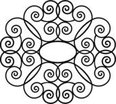 Clip Art of , border, fancy, frame, iron, ironwork, square, swirls.