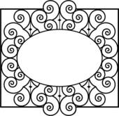 Clipart of , fence, gate, grill, iron, ironwork, swirls, wrought.
