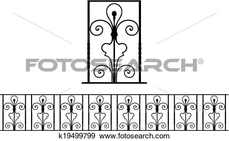 Clip Art of Detail of ironwork k19499799.