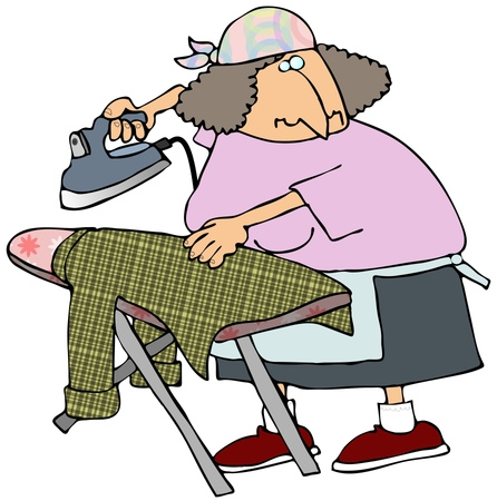 Person Ironing Clipart.