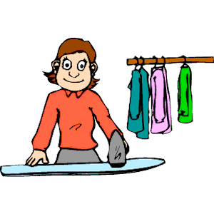 Woman ironing clip art.