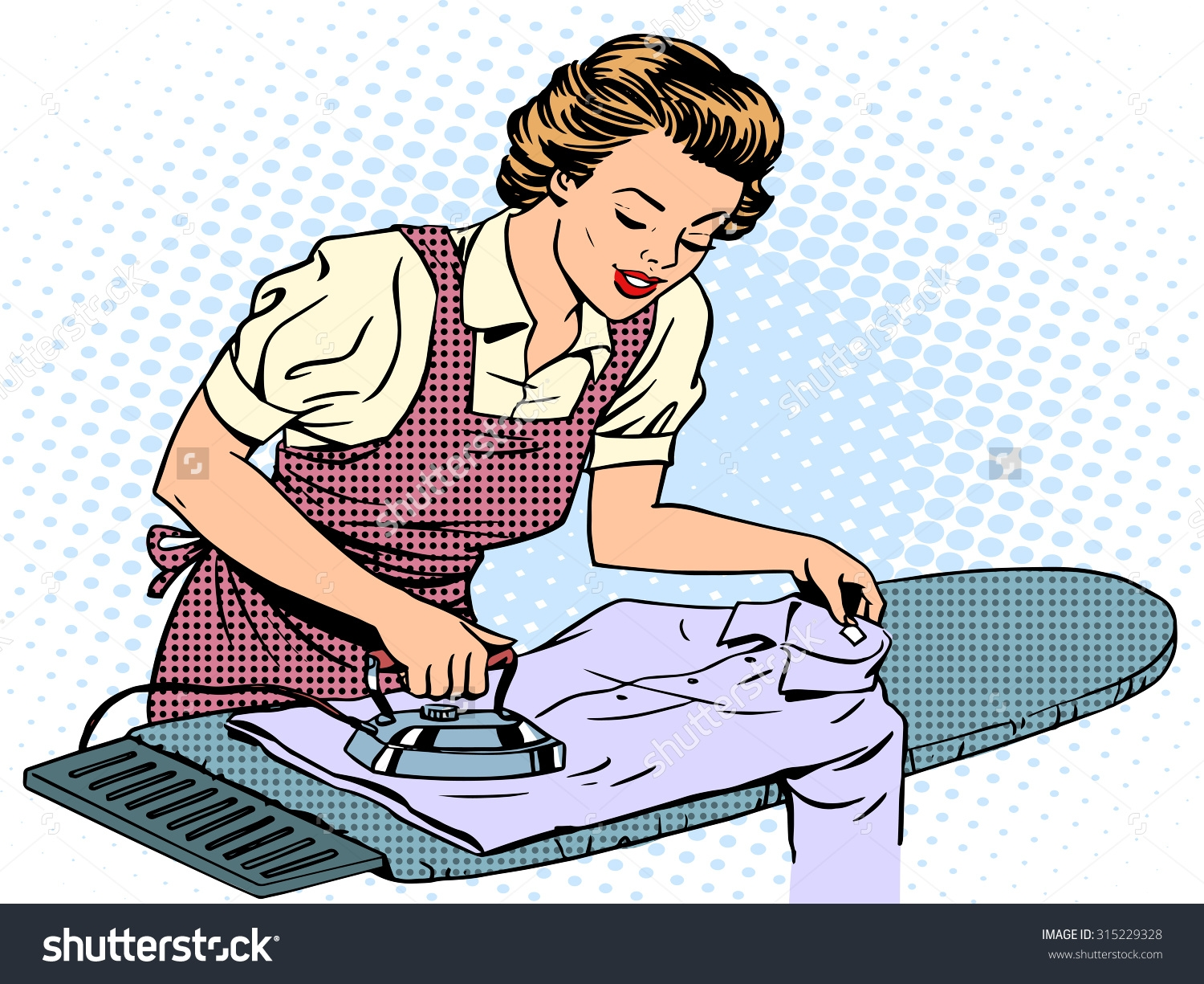Mother Ironing Clothes Clipart.