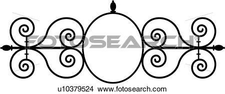 Clipart of , border, cornice, fancy, frame, gate, iron, ironwork.