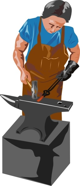 Blacksmith Working clip art Free vector in Open office drawing svg.