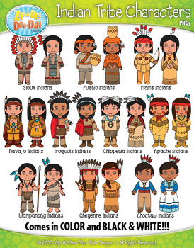 Native American Tribe Characters Clipart Bundle {Zip.