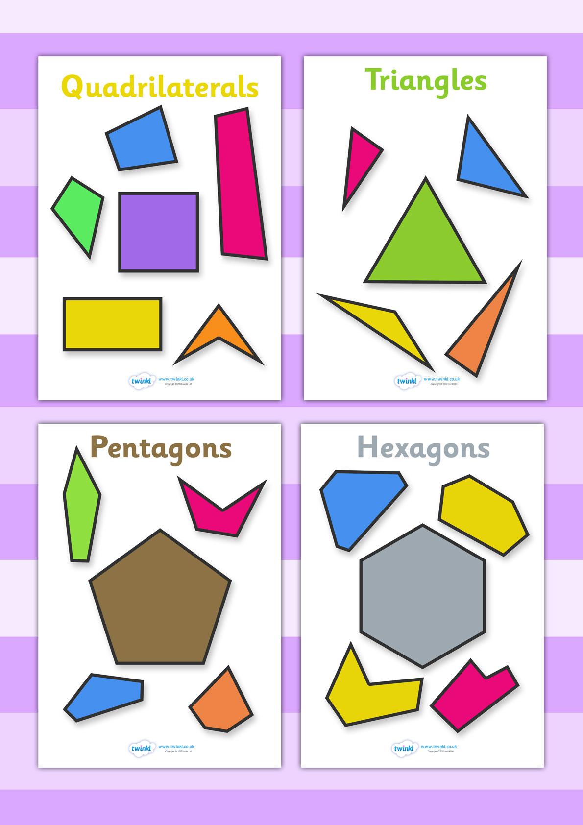 Regular and Irregular Shapes, printable geometry sheets.