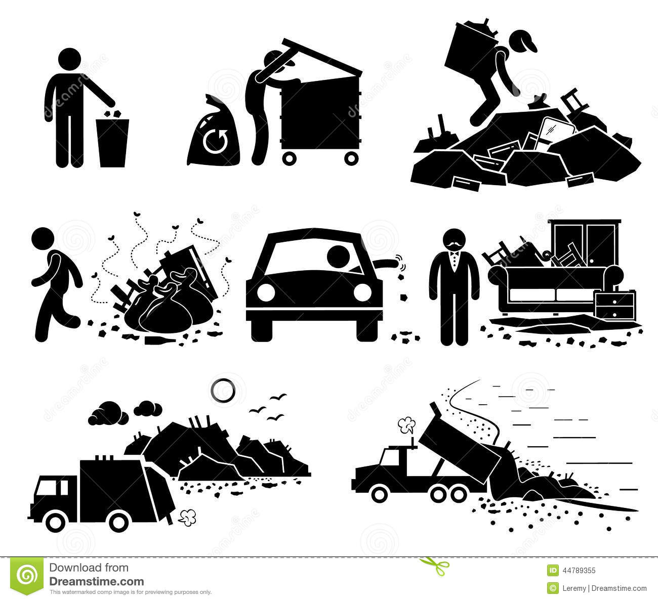 Rubbish Trash Garbage Waste Dump Site Cliparts Icons Stock Vector.