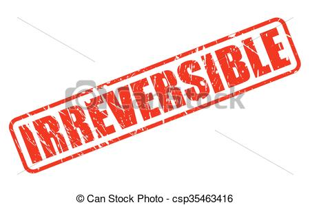 Vector Clip Art of IRREVERSIBLE red stamp text on white.