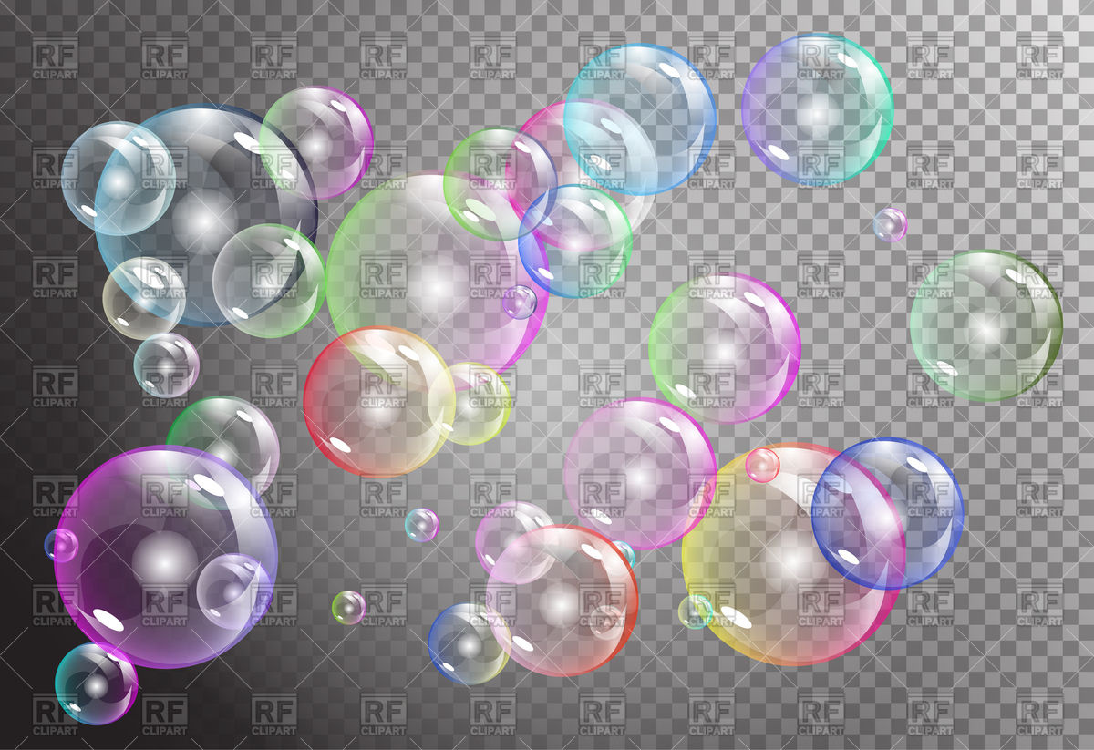 Transparent iridescent flying bubbles on a gray background Vector.