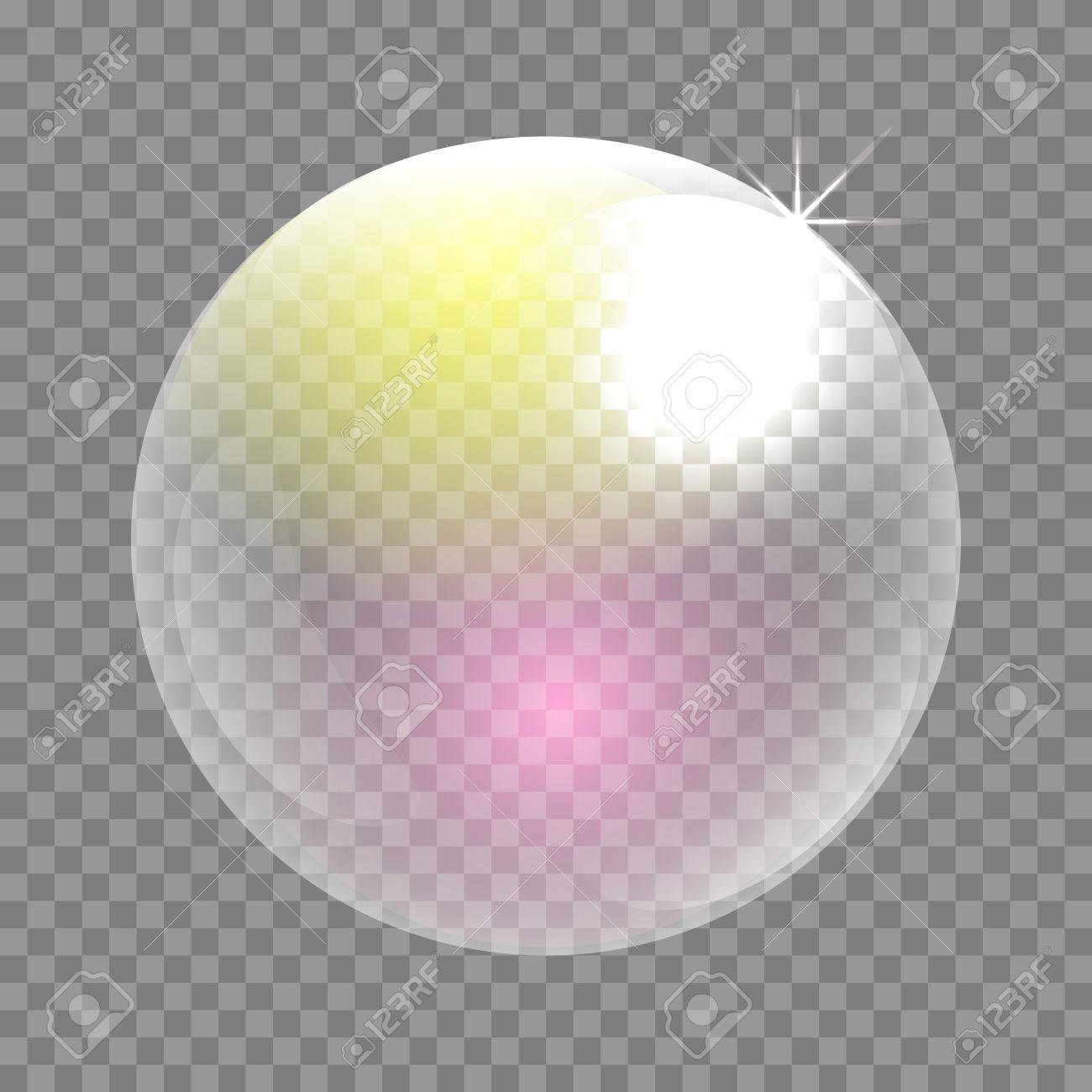 Transparent Soap Bubble Vector Clip Art. Iridescent Bubble Sphere.