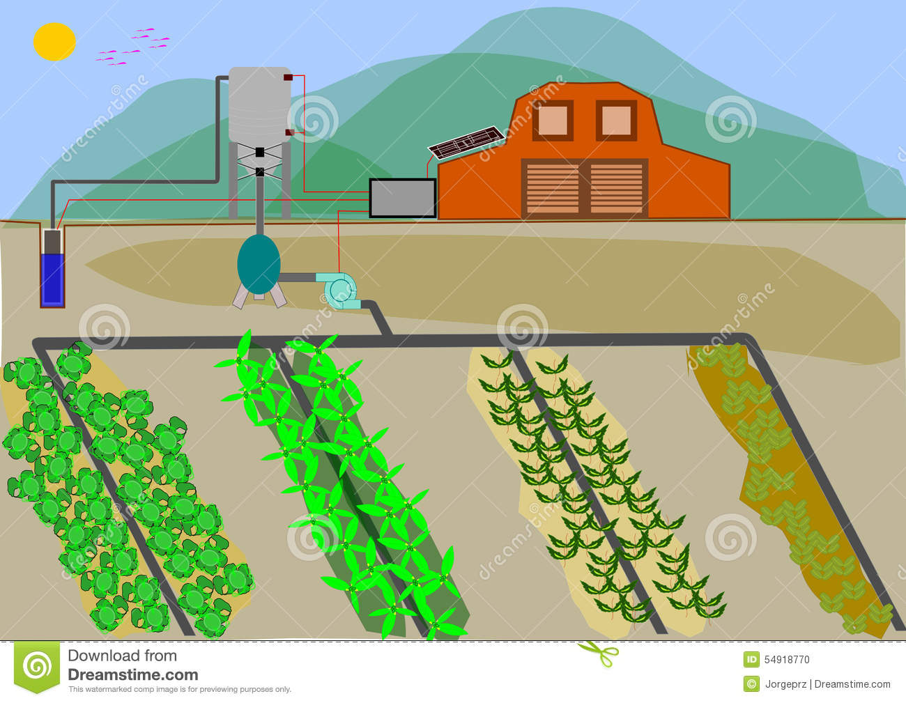 Automated Irrigation System Stock Illustration.