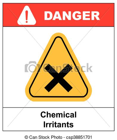 Vector Clipart of vector irritant sign in yellow triangle. danger.