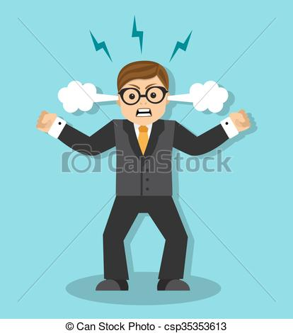 Vector Clip Art of anger and irritation at work.