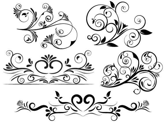 5 Swirl Vectors Svg Dxf Png Jpg Eps vector file Cut Files.