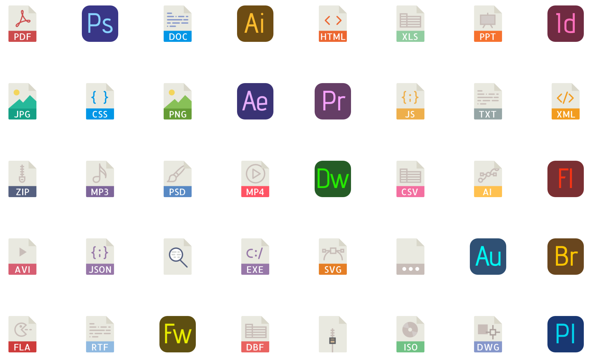 40 File types color vector icons (.eps, .svg, .png) free download.