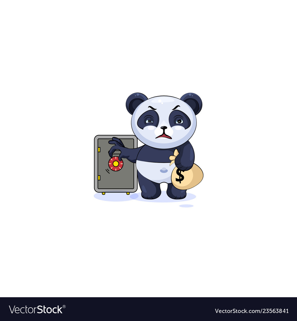 Panda sticker emoticon open safe to hide money.