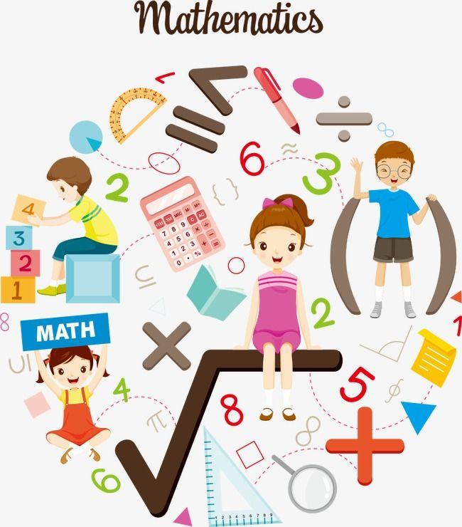 Vector Kids Interested In Mathematics, Kids Clipart, Vector.