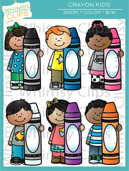 Kids with Crayons Clip Art.