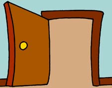 Cartoon half open door clipart.