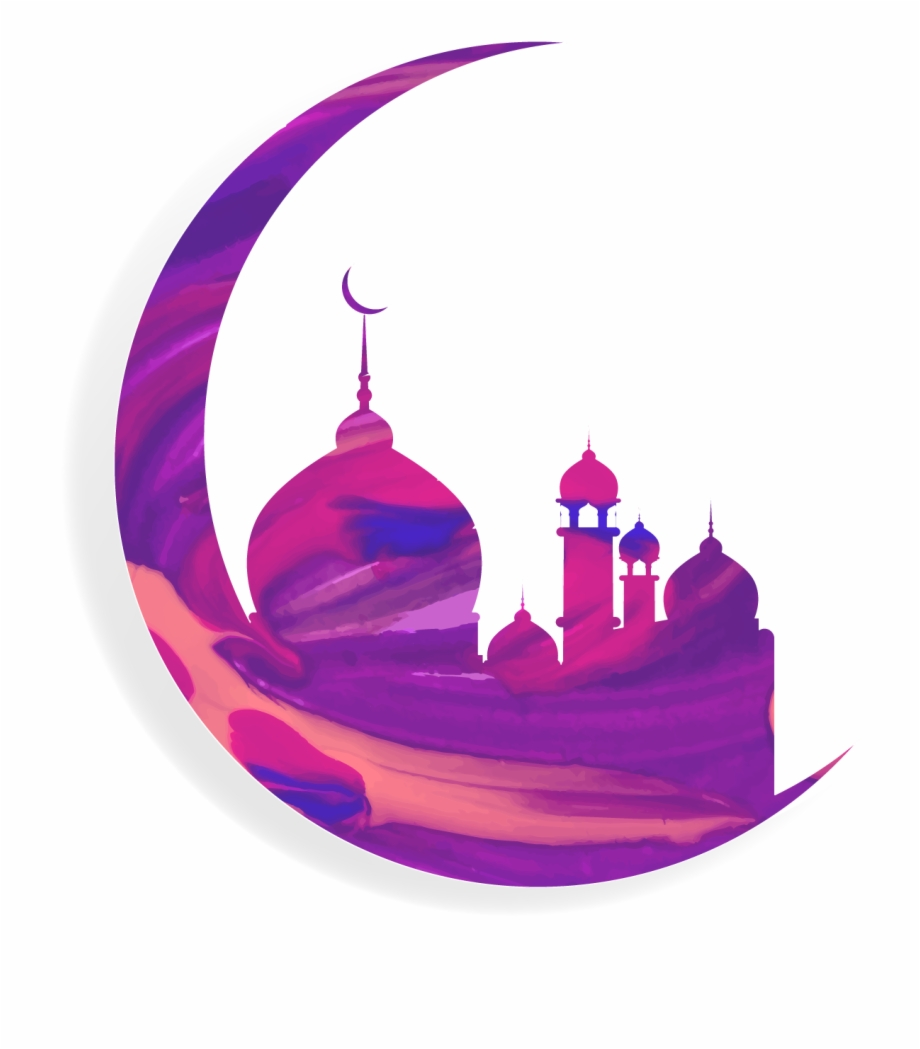 Vector Moon With Islam Mosque.