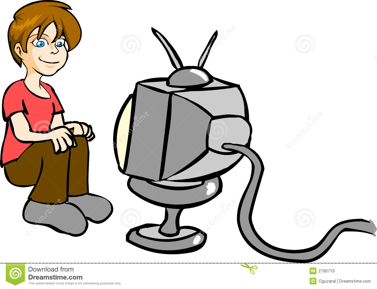 Boy Watching Tv Clipart.