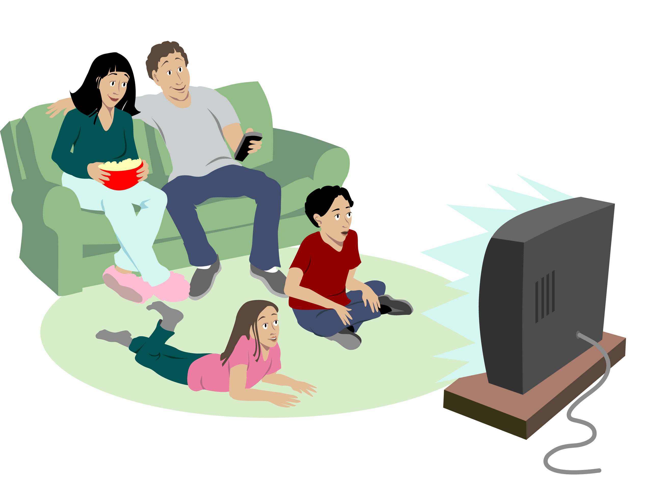 Cartoon Watching Tv Clipart.