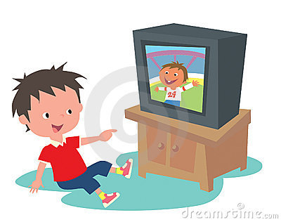 watching home videos clipart.