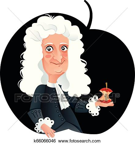 Isaac Newton Vector Caricature Clip Art.