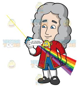 Isaac Newton Looking Through A Color Prism.