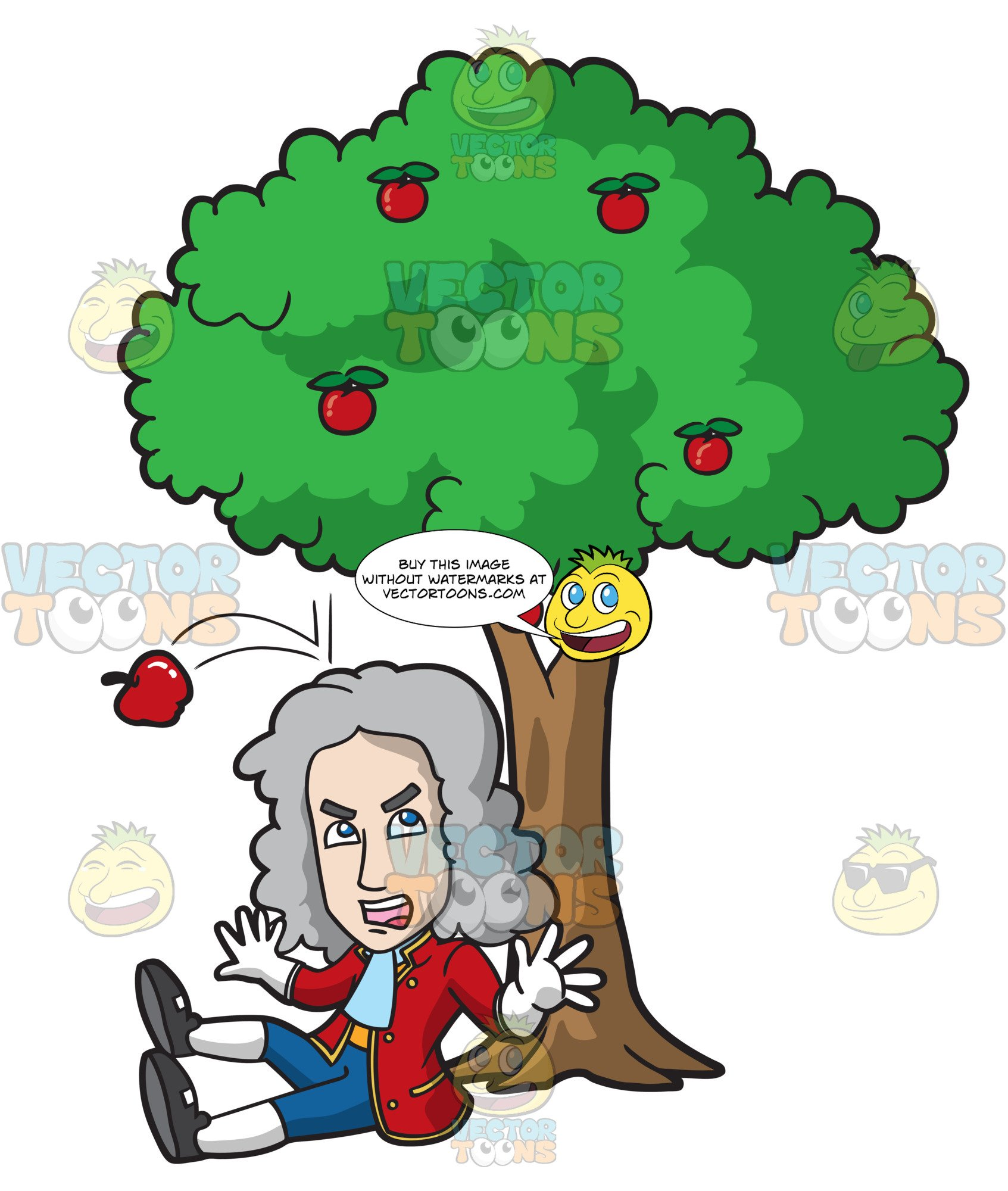 Isaac Newton Gets Hit On The Head By A Falling Apple.