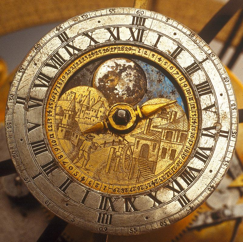 Dial detail of celestial clockwork globe.