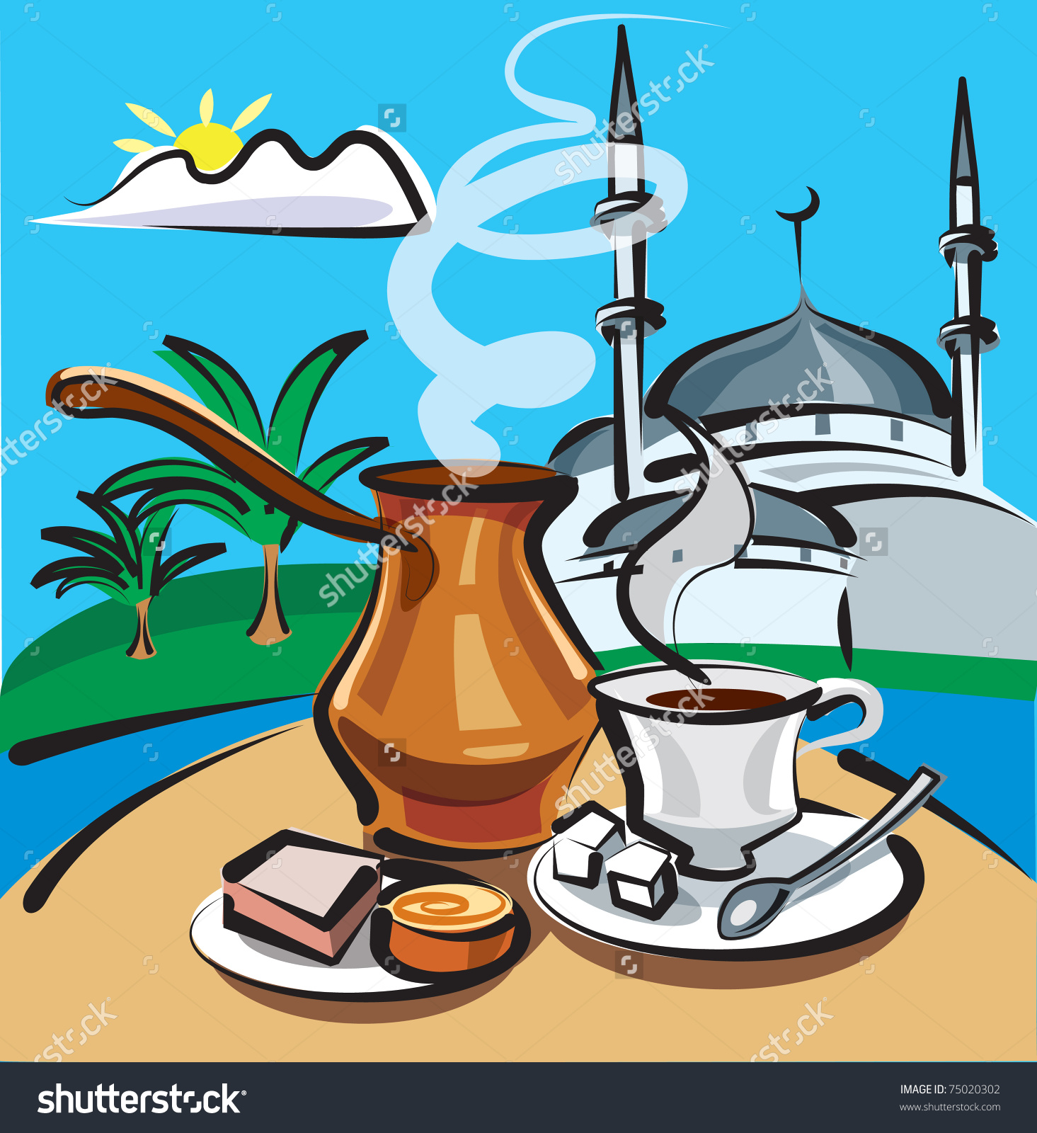 Turkish Coffee Istanbul Stock Vector 75020302.
