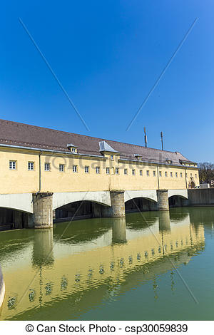 Stock Photos of Historic weir at the river Isar in Munich.