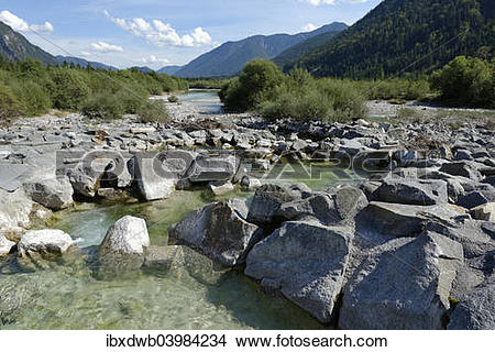 """Stock Photo of """"Upper Isar River, at the sediment barrier, nature."""