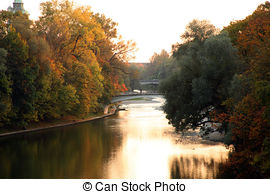 Stock Photography of Munich, Kabelsteg bridge on Isar river on.