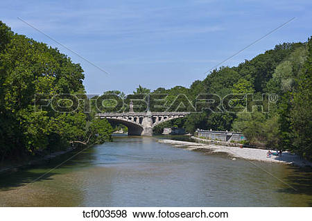 Pictures of Germany, Munich, Isar with Maximilian bridge tcf003598.