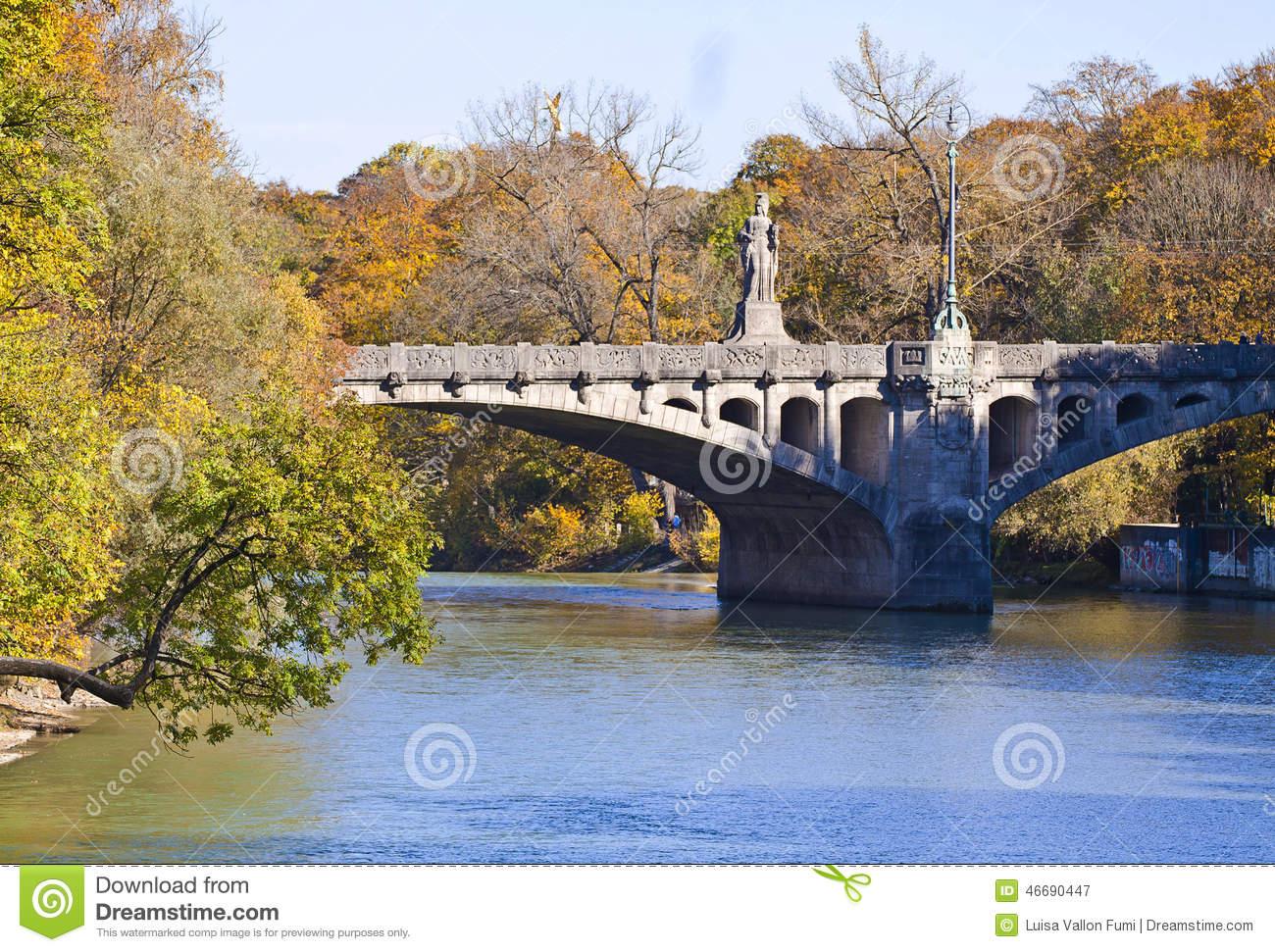 Munich, Maximilian Bridge On Isar River Stock Photo.